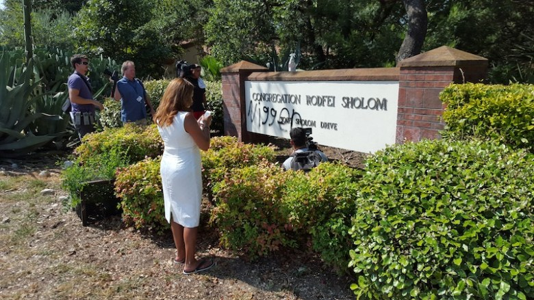The n word was spray painted on the entrance sign to the Orthodox synagogue Rodfei Sholom. Photo by Winslow Swart.