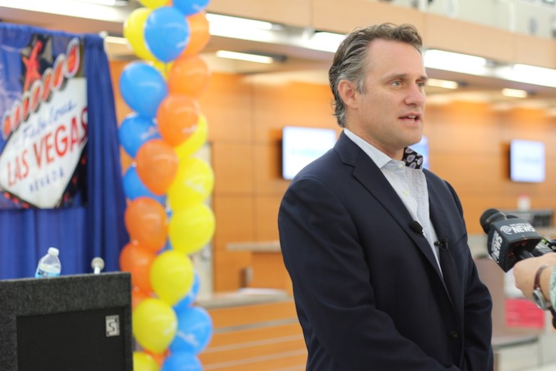 Jude Bricker, Allegiant senior vice president of planning, spoke on behalf of Allegiant at the airport on Tuesday. Photo by Joan Vinson.