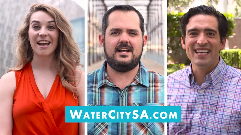 Screenshot SAWS' #WaterCitySA campaign video (from left) Ellie Leeper, public relations manager for CRIT USA, the Children's Rehabilitation Institute of TeletónUSA; Zac Harris, director of marketing and sales for Alamo Beer Company; and Omar Gonzales, director of planning and operations at Hemisfair Park Area Redevelopment Corporation and LOOP co-founder.