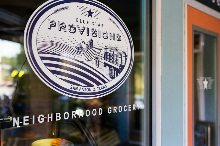 The Blue Star Provisions logo as you approach the front door. Photo by Scott Ball.