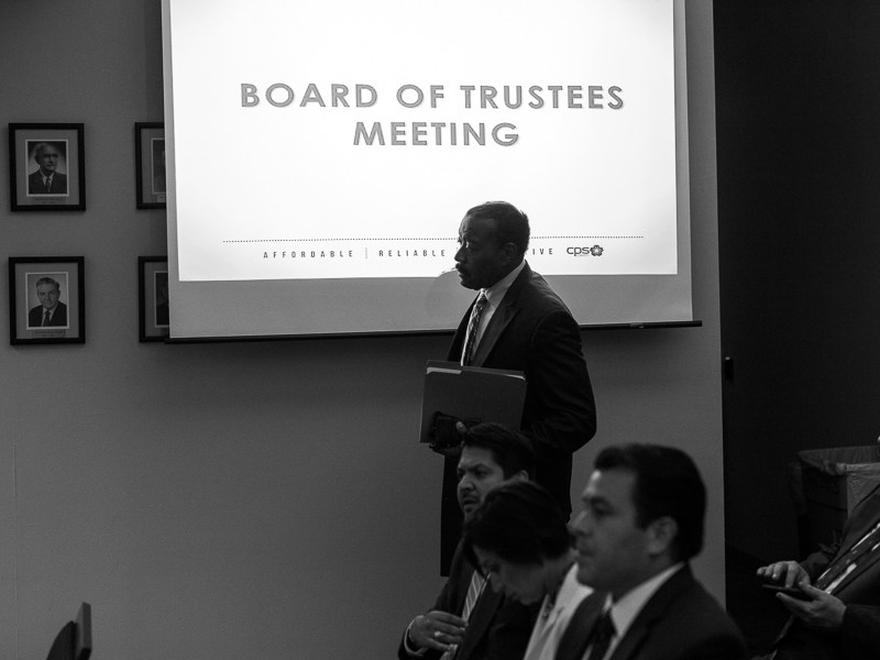 CPS Energy President and CEO Doyle Beneby arrives at a board meeting in August 2015. Photo by Scott Ball.
