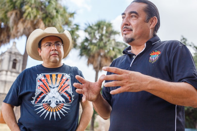 Ramón Vásquez and Jesús Reyes describe the history of their Native American ancestors. Photo by Scott Ball.