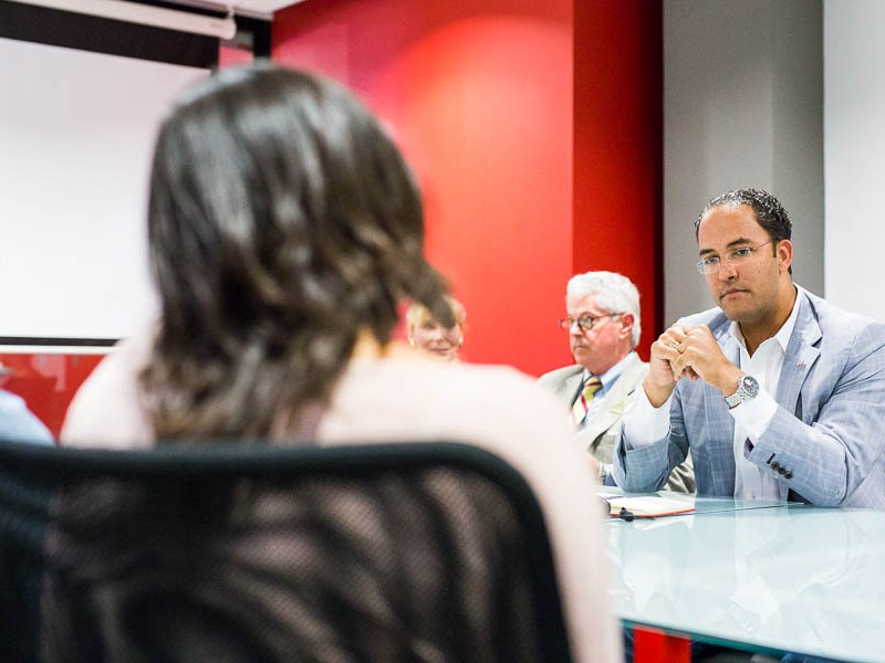 U.S. Rep. Will Hurd (R-Texas) on a recent tour of Geekdom. Photo by Scott Ball.
