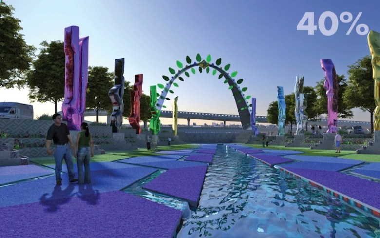 """Tree of Life"" San Pedro Creek Improvements Project 40% design renderings. Courtesy of Muñoz & Co."