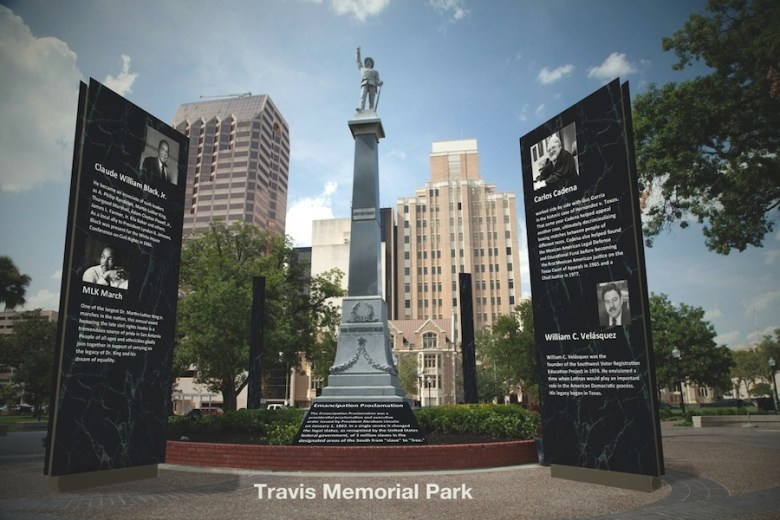 "A preliminary rendering of what Travis Park could become, ""Travis Memorial Park,"" complete with educational signage. Rendering by Councilmember Roberto Treviño."