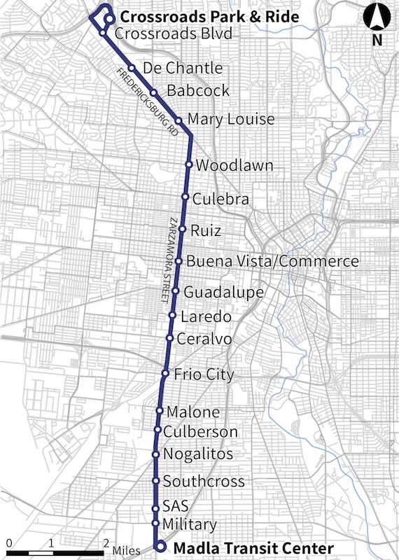 The Zarzamora Street Primo route. Image courtesy of VIA Metropolitan Transit.