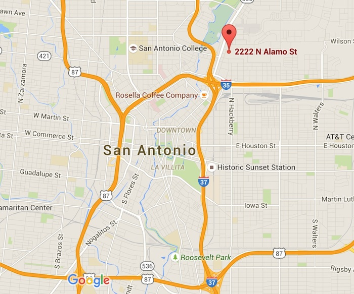 Alamo Colleges will build its new office building at 2222 N. Alamo St. Map via Google Maps.