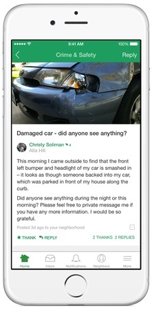 A neighbor uses Nextdoor's mobile app to report a hit-and-run accident.