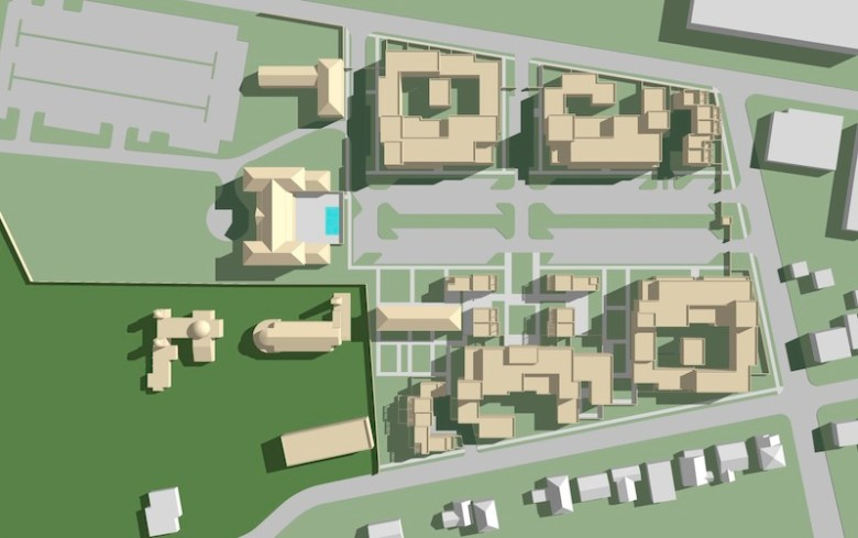 Building massing and site plan for the proposed Mission Concepción apartment and office building complex. Image courtesy of Moule & Polyzoides.