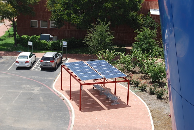 One of the solar bus ports located in front of the Scobee Education Center at San Antonio College. Photo by Jillian Corley.