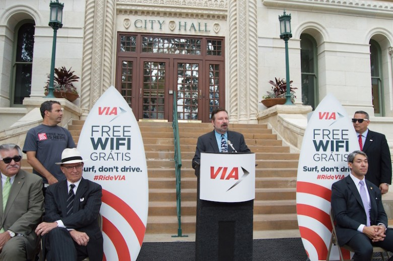 VIA CEO/President Jeffrey Arndt announces the launch of complimentary WiFi services to riders throughout the city, starting Tuesday, Sept. 1. Photo by Lea Thompson.