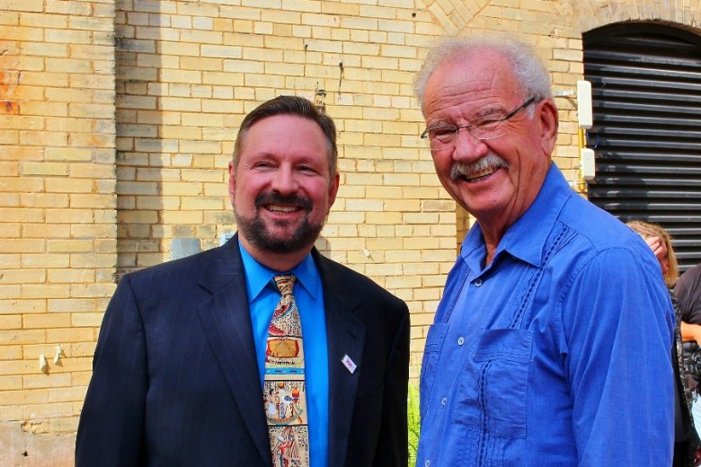 VIA President and CEO Jeffrey Arndt with Mayor Phil Hardberger in the Luby Courtyard at SAMA. Photo by Tami Kegley.