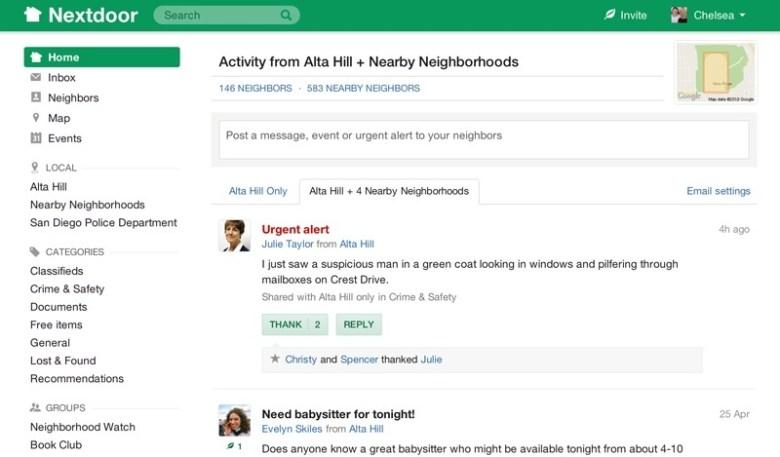 Alta Visa's active Nextdoor page.