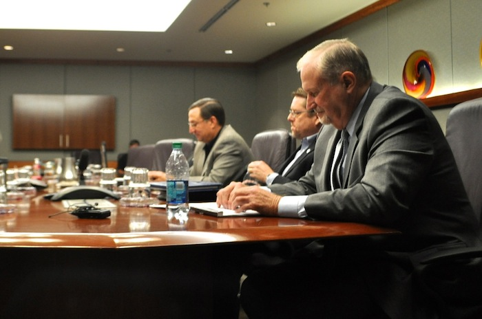 SAPOA lead negotiator Ron DeLord (right) presents the police union's latest proposal to the City. Photo by Iris Dimmick.
