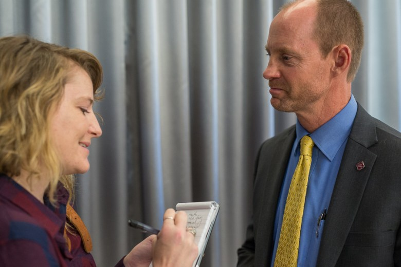 Rivard Report Editor Iris Dimmick interviews Capital Improvements Management Services Director Mike Frisbie. Photo by Scott Ball.