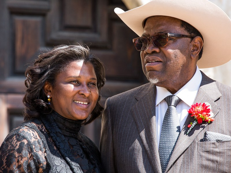 President Geingob and his wife Monica Kalondo stand in front of The Alamo. Photo by Scott Ball.