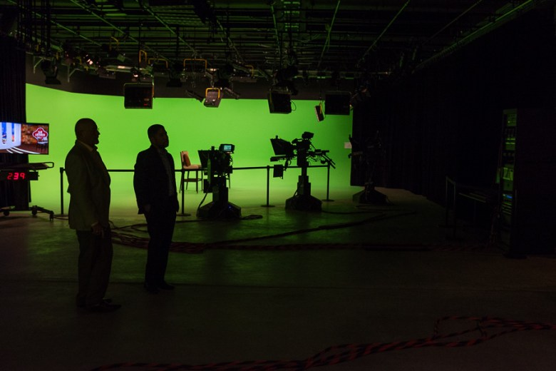 Guests check out the new green room of the SA-CAN studios. Photo by Scott Ball.