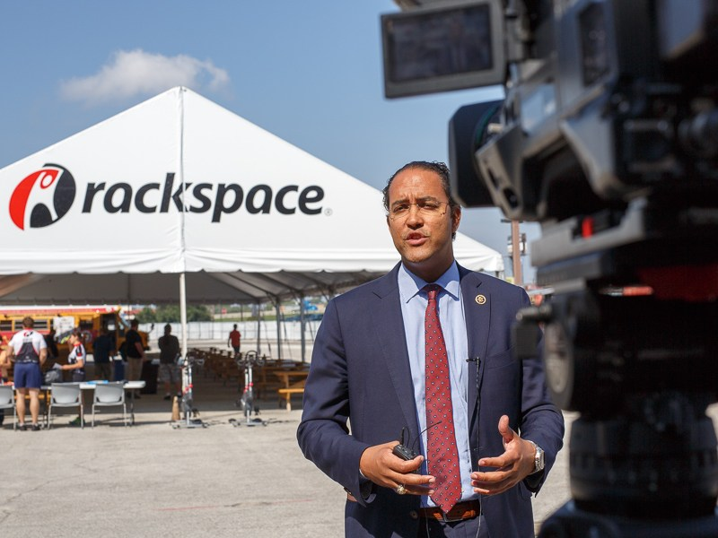 Congressman Will Hurd stands in front of an outdoor food truck park at Rackspace. Photo by Scott Ball.