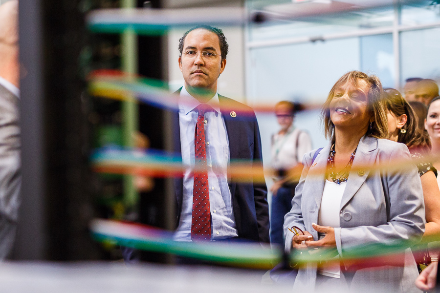 Congressman Will Hurd takes a look at a server on display during a tour of Rackspace in 2015.