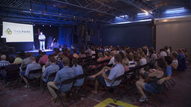 Pastor Mike DeFrees preaches to his congregation. Courtesy photo.