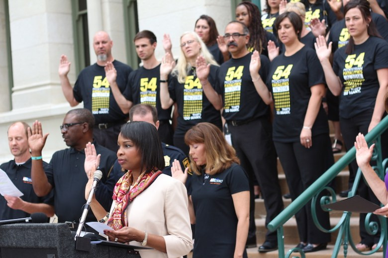 Mayor Ivy Taylor leads the Vision Zero Safety Pledge with Councilmember Shirley Gonzales (D5) during the Vision Zero kickoff event on Sept. 15, 2015. Photo by Joan Vinson.