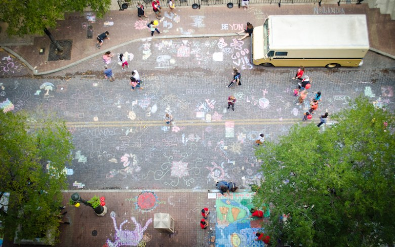 Houston Street turns into an outdoor gallery during Chalk It Up. Photo courtesy of Artpace.