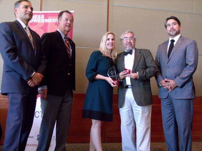 Business Empowerment (BE) San Antonio participants pose with their award during a luncheon at the San Antonio International Center on Wednesday, Oct. 28, 2015. From left are City Economic Development Director Rene Dominguez, and City Councilmembers Joe Krier (D9) and Roberto Trevino (D1). Photo by Edmond Ortiz