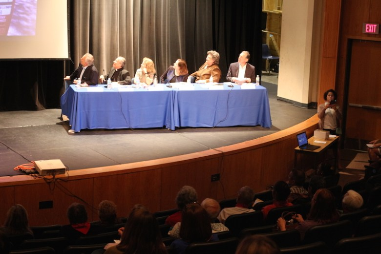 The panel watches a video about the World Heritage designation. Photo by Joan Vinson.