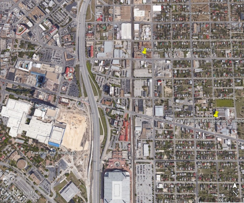 An aerial view of downtown and near-Eastside, home to both vacant building complexes. Image courtesy of Google Earth.