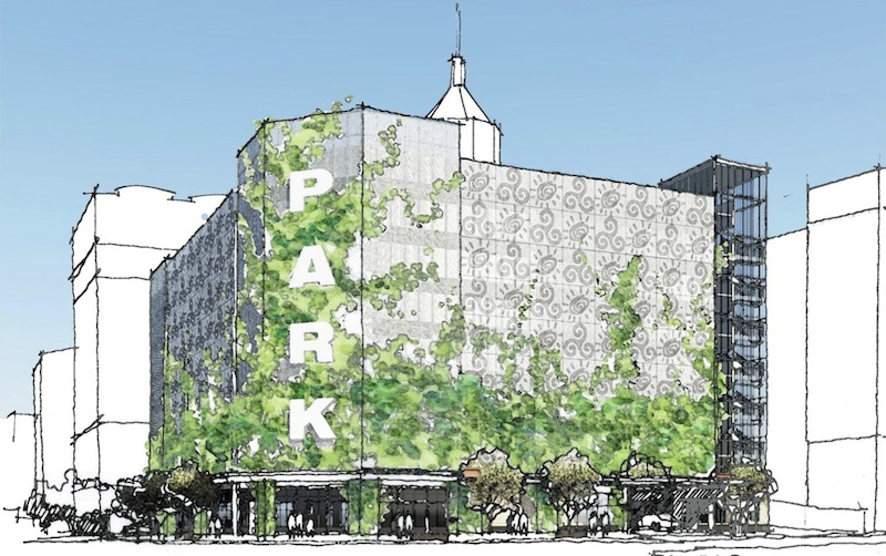 Rendering of the proposed parking lot at 210 E. Commerce as seen from the corner of Navarro and Commerce streets. Image courtesy of Alamo Architects.