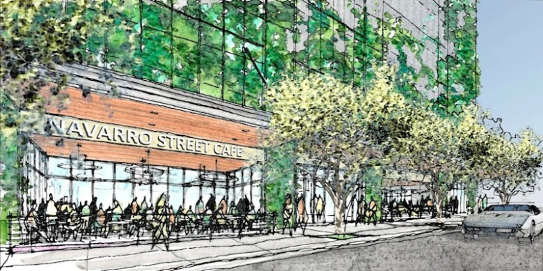 Rendering of what could be the retail space, a cafe, on Navarro Street inside the proposed parking garage. Image courtesy of Alamo Architects.