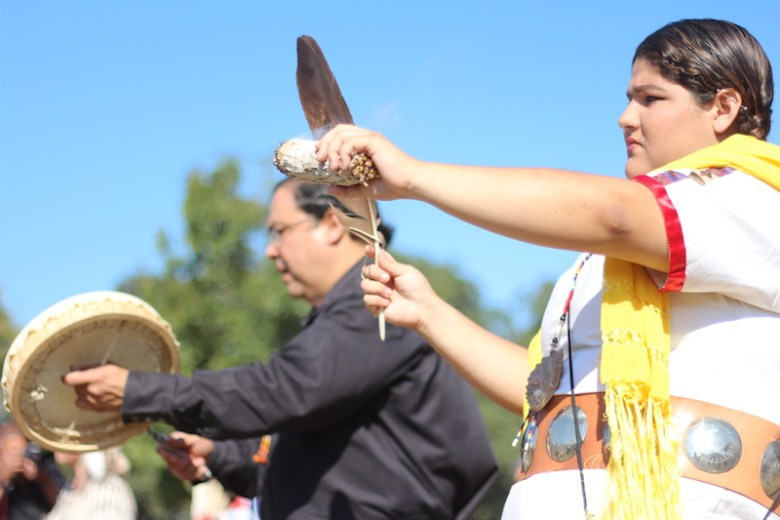 Members of the American Indians in Texas at the Spanish Colonial Missions partake in a ritual ceremony. Photo by Joan Vinson.