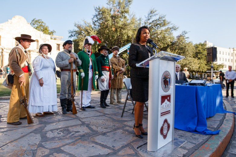 Mayor Ivy Taylor speaks in front of The Alamo before the signing of the Alamo master plan. Photo by Scott Ball.