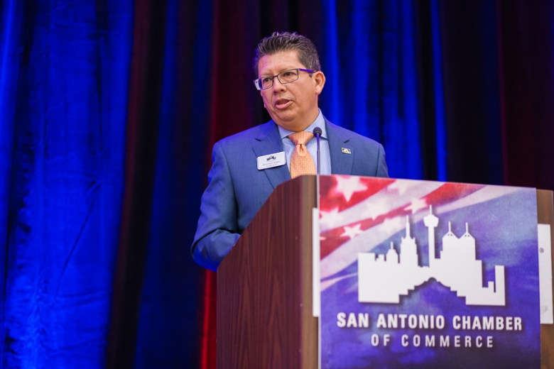 President and CEO of the SACC Richard Perez speaks at a luncheon featuring Joaquin Castro. Photo by Scott Ball.