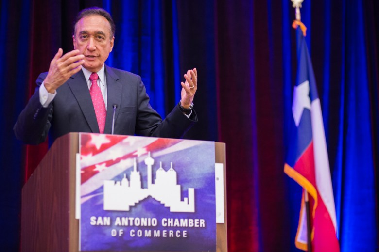 SACC board member Henry Cisneros gives an introduction for State Representative Joaquin Castro. Photo by Scott Ball.