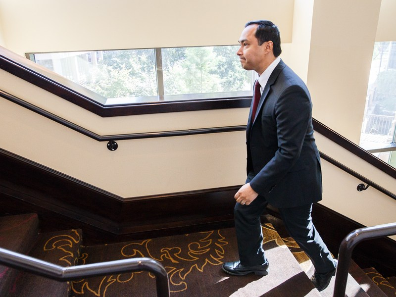 State Representative Joaquin Castro walks up the stairs to his speaking engagement with the San Antonio Chamber of Commerce. Photo by Scott Ball.