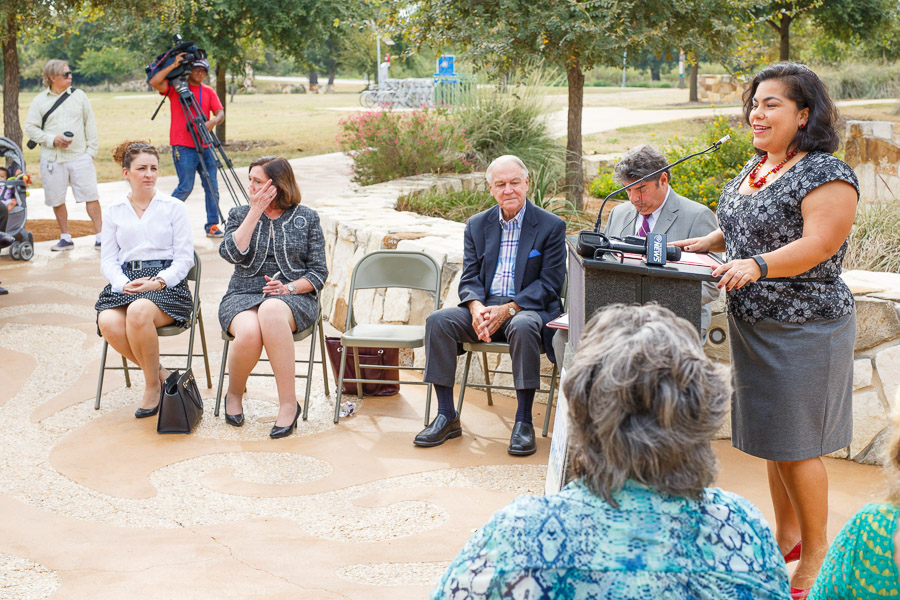 Councilmember Rebecca Viagran (D3) speaks at the opening of the River Return portal. Photo by Scott Ball.