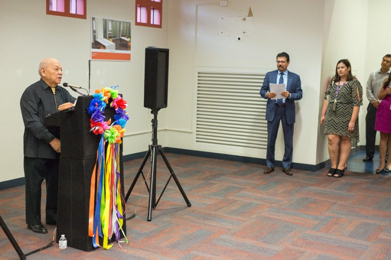 Local author Dr. Thomás Ybarra y Frausto speaks at the future home of the Latino Collection & Resource Center at the Central Library. Photo by Scott Ball.