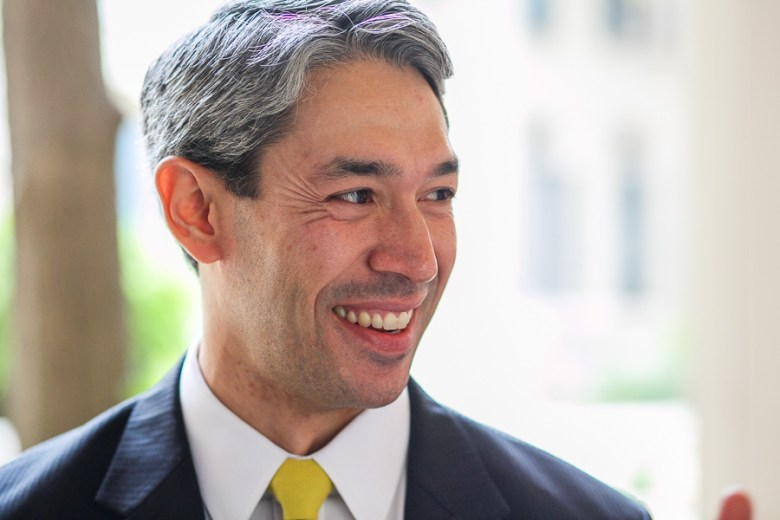 Councilmember Ron Nirenberg (D8) smiles as he arrives at the Southwest School of Art's Coates Chapel. Photo by Scott Ball.