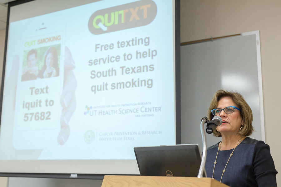 Study leader and Director of the Institute for Health Promotion Research at UTHSCSA Amelie G. Ramirez speaks at the QUITXT Press Conference. Photo by Scott Ball.