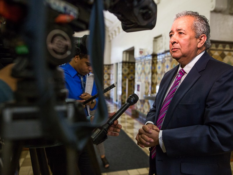 SAWS CEO Robert Puente is interviewed by television media outlets. Photo by Scott Ball.