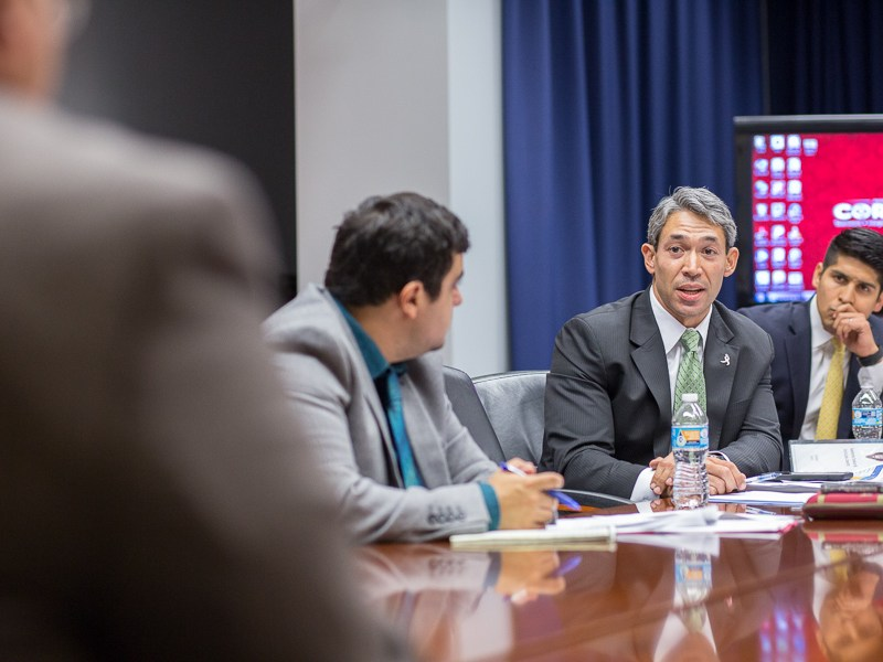 Councilmember Ron Nirenberg (D8) resonds to Director of IRNR Raul Lopez's statement. Photo by Scott Ball.