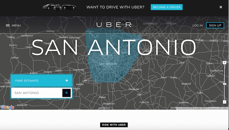 A map of Uber coverage in San Antonio Texas. Courtesy image.