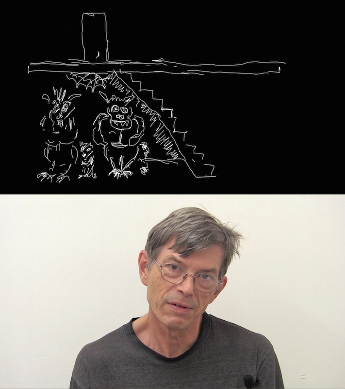 """Project participant, New York artist Jim Seffens and his drawing for the story """"The demons of Ferguson."""" Photo courtesy of Tatiana Istomina."""