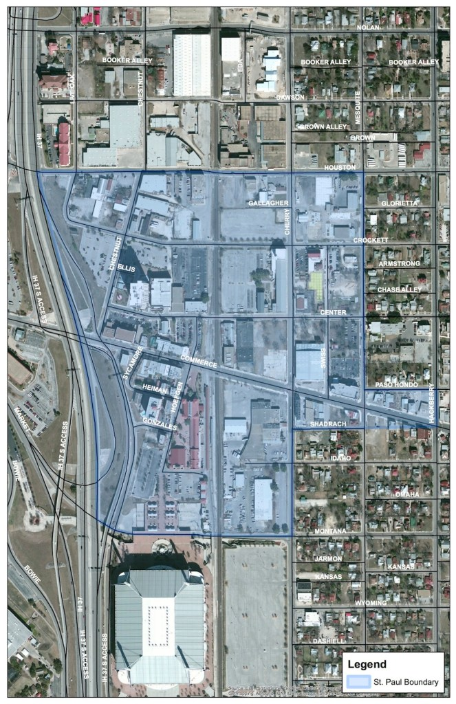 The scope of the study extends beyond the boundaries of the St. Paul Square Historic District.