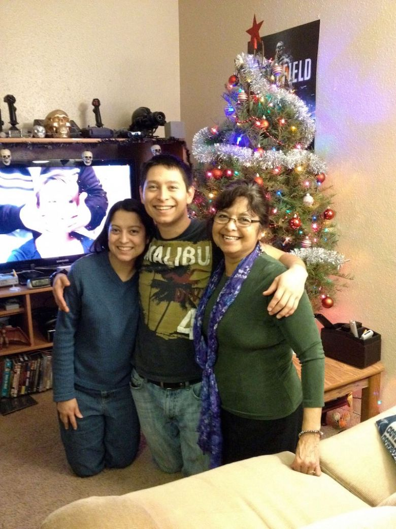 Starting left, Marie Murguia, sister, Andrew Murguia, and Antonia Murguia, mother brought Andrew a Christmas tree a few days before his horrendous death. . Courtesy photo of Antonia Murguia.