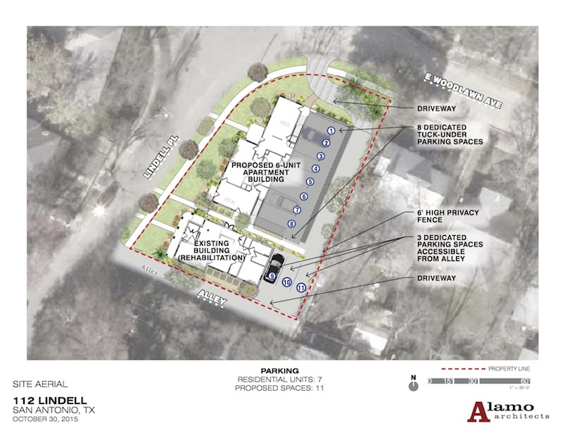 A site plan of 112 Lindell Place. Image courtesy of Alamo Architects.