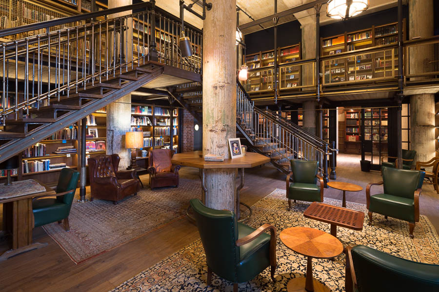 The library at Hotel Emma. Photo by Scott Martin.