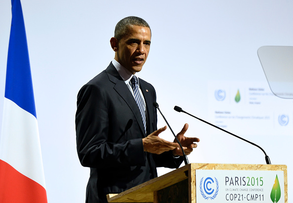 US President Barack Obama delivers a speech during the plenary session at the COP 21 United Nations conference on climate change, on November 30, 2015 at Le Bourget, on the outskirts of the French capital Paris. Eric Feferberg/AFP/Getty Images