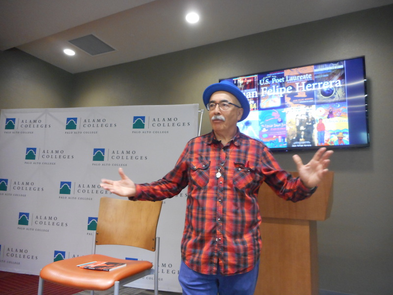 U.S. Poet Laureate Juan Felipe Herrera presented poetry and advice at Palo Alto College's Heritage Month. Photo by Don Mathis.